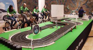 scalextric para eventos con bicicletas